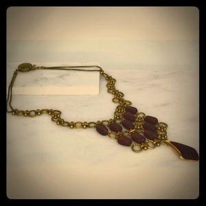 Brown Bib Statement Necklace & Earrings